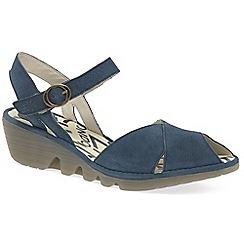 Fly London - Blue leather 'Peke' wedge heeled sandals