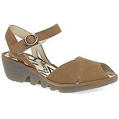 Fly London - Brown leather 'Peke' wedge heeled sandals