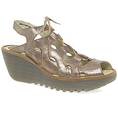 b9720ff9c3d Fly London - Gold leather  yexa  high heeled wedge sandals