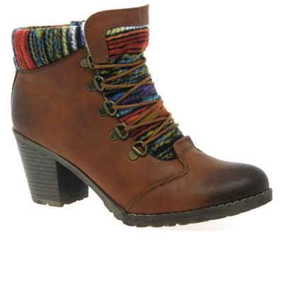 Rieker Brown 'Caledonia' womens lace up ankle boots ...