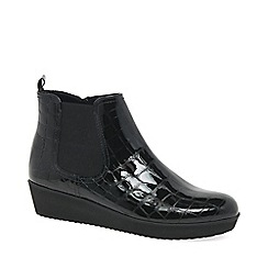 Gabor - Black patent 'Ghost' women's wedged ankle boots
