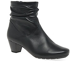 Gabor - Black leather 'Kingston' womens mid heeled ankle boots