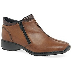Rieker - Tan leather 'Drizzle' womens casual ankle boots
