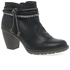 Rieker - Black 'Rope' mid heeled ankle boots