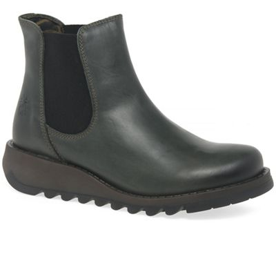 Fly London - Dark green leather 'Salv' chelsea boots
