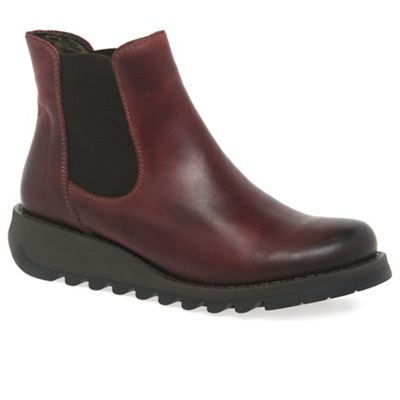Fly London - Dark red 'Salv' womens casual ankle boots