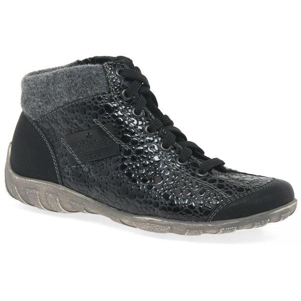boots Rieker Womens Black flat ankle 'Jura' qwUHvwO