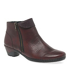 Rieker - Wine leather 'Harris' low heeled ankle boots