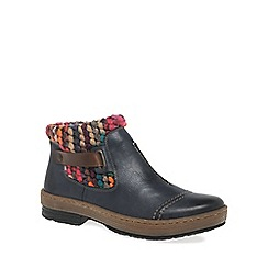 Rieker - Dark blue 'Rambler' Womens Knit Panel Ankle Boots
