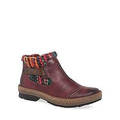 Rieker - Wine 'Rambler' Womens Knit Panel Ankle Boots