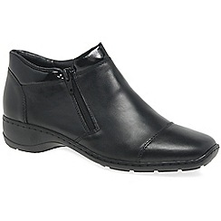 Rieker - Black leather 'Barbara' flat ankle boots