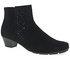 Gabor - Black suede 'Brady' mid heeled ankle boots