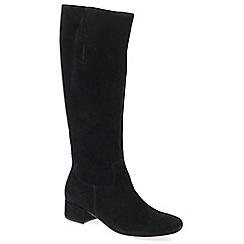 Gabor - Black suede 'Jorgie' low heeled knee high boots