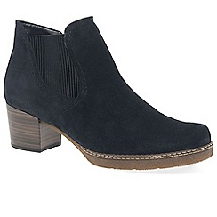 Gabor - Dark blue suede 'lilia' mid heeled chelsea boots