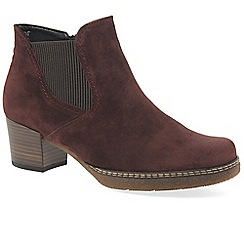 Gabor - Dark red suede 'Lilia' mid heeled Chelsea boots