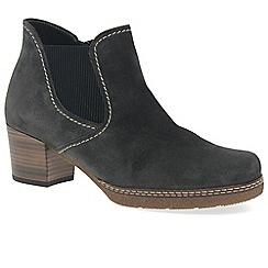 Gabor - Dark grey suede 'Lilia' mid heeled Chelsea boots