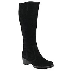 Gabor - Black nubuck 'Paris' mid heeled knee high boots