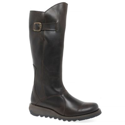 Fly London - Dark brown leather 'Mol 2' Womens Long Boots