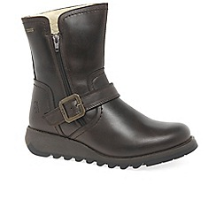 Fly London - Dark brown leather 'Seku' flat warm lined ankle boots