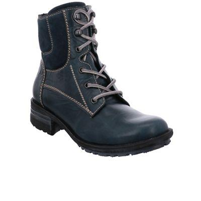 Josef Seibel - Blue leather 'Sandra 64' flat lace up boots