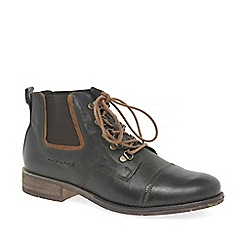 Josef Seibel - Dark green leather 'Sienna 09' lace up ankle boots
