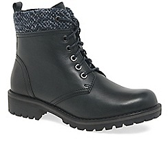 Marco Tozzi - Navy 'Hitch' flat lace up ankle boots
