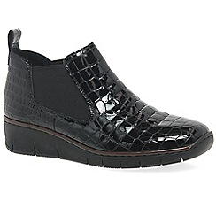 Rieker - Black patent 'Eria' low wedge heeled ankle boots