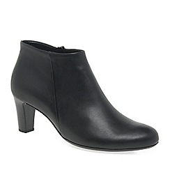 Gabor - Black leather 'Ripple' mid heeled ankle boots