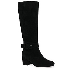 Gabor - Black suede 'Carnation M' mid heeled knee high boots