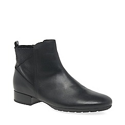 Gabor - Black leather 'Bastia' low heeled ankle boots