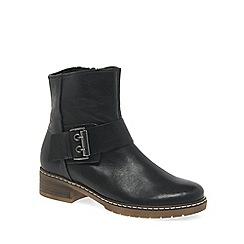 Gabor - Black leather 'Dakota' womens flat biker boots