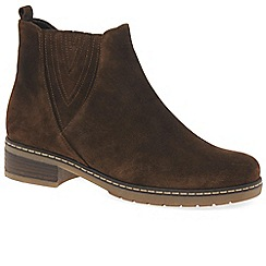 Gabor - Brown suede 'Dorothy' womens flat Chelsea boots