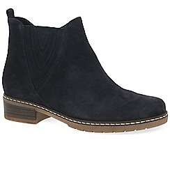 Gabor - Dark blue suede 'Dorothy' womens flat Chelsea boots