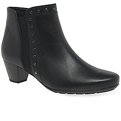 Gabor - Black leather 'Cheyenne' mid heeled ankle boots