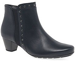 Gabor - Dark blue leather 'Cheyenne' mid heeled ankle boots