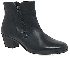 Gabor - Black leather 'Selina' mid heeled ankle boots