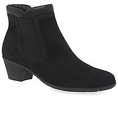 Gabor - Black nubuck 'Sound 2' mid heeled ankle boots