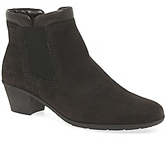 Gabor - Brown nubuck 'Sound 2' mid heeled ankle boots