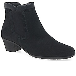 Gabor - Navy nubuck 'Sound 2' mid heeled ankle boots