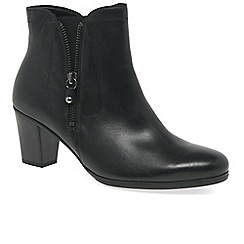 Gabor - Black leather 'Miriam' mid heeled ankle boots