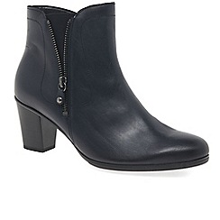 Gabor - Navy leather 'Miriam' mid heeled ankle boots
