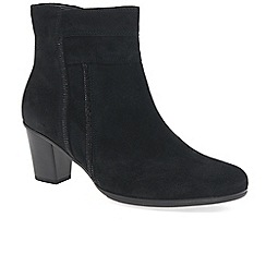 Gabor - Black suede 'Shirley' mid heeled ankle boots