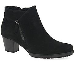 Gabor - Black nubuck 'Olivetti' mid heeled ankle boots