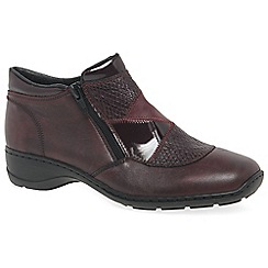 Rieker - Wine leather 'Cantell' flat twin zipped ankle boots