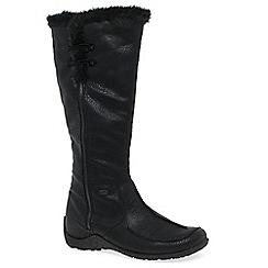 Rieker - Black 'Astound' flat knee high 'fur' trimmed boots