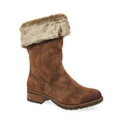 Rieker - Tan nubuck 'Newam' water resistant flat calf length boots