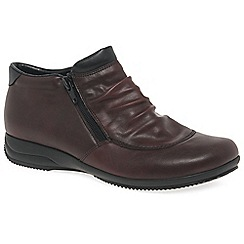 Rieker - Wine leather 'Folly Womens' flat twin zip ankle boots