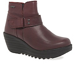 Fly London - Red leather 'yock' high heeled wedge ankle boots