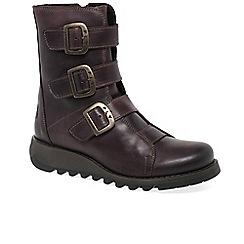 Fly London - Purple leather 'Scop' biker boots