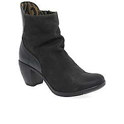 Fly London - Dark grey suede 'Hota' high heeled ankle boots